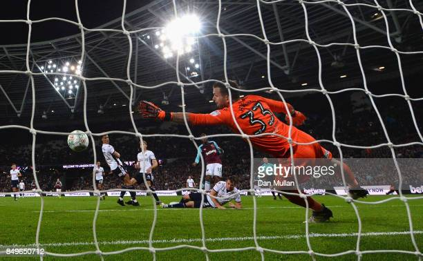Mark Howard of Bolton Wanderers fails to stop a shot for West Ham United second goal during the Carabao Cup Third Round match between West Ham United...