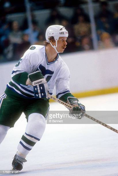 Mark Howe of the Hartford Whalers skates on the ice during an NHL game in April 1981 at the Hartford Civic Center in April 1981
