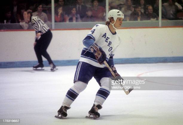 Mark Howe of the Houston Aeros skates on the ice during a WHA game circa 1975 at the Summit in Houston Texas