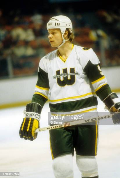 Mark Howe of the New England Whalers skates on the ice during a WHA game in April 1979 at the Hartford Civic Center in Hartford Connecticut
