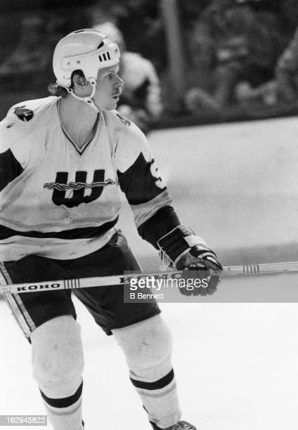 Mark Howe of the New England Whalers skates on the ice during an WHA game circa 1978 at the Hartford Civic Center in Hartford Connecticut