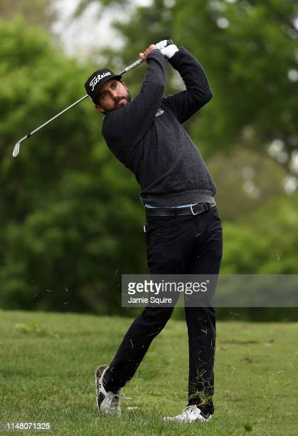 Mark Hubbard hits his second shot on the 16th hole during the first round of the Webcom Tour KC Golf Classic on May 09 2019 in Kansas City Missouri