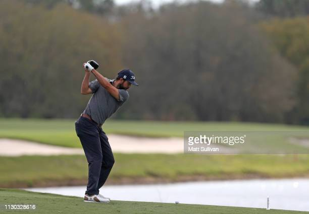 Mark Hubbard hits his tee shot on the second hole during the final round of the LECOM Suncoast Classic at Lakewood National Golf Club on February 17...