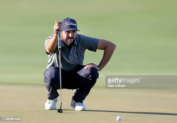 Mark Hubbard lines up a putt on the 18th hole during the final round of the LECOM Suncoast Classic at Lakewood National Golf Club on February 17 2019...