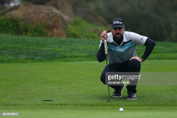Mark Hubbard lines up a putt on the 2nd green during Round Two of the ATT Pebble Beach ProAm at Monterey Peninsula Country Club on February 10 2017...
