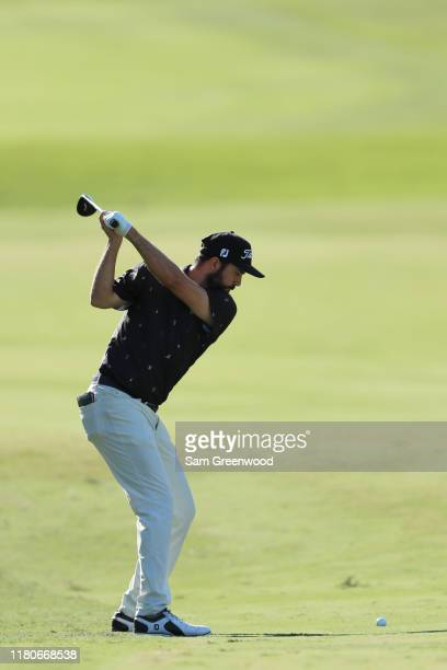 Mark Hubbard of the United States plays a shot on the 13th hole during the third round of the Houston Open at the Golf Club of Houston on October 12...
