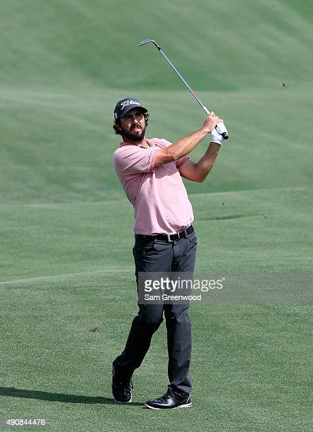 Mark Hubbard of the United States plays a shot on the 17th hole during the first round of the Webcom Tour Championship at the TPC Sawgrass Dye's...