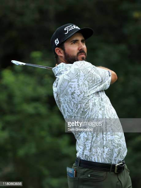 Mark Hubbard of the United States plays his shot from the 14th tee during the final round of the Houston Open at the Golf Club of Houston on October...