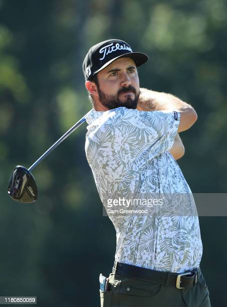 Mark Hubbard of the United States plays his shot from the eighth tee during the final round of the Houston Open at the Golf Club of Houston on...