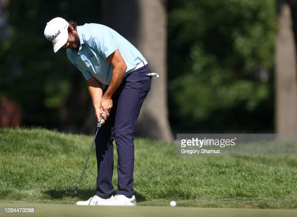 Mark Hubbard of the United States putts on the 18t green during the final round of the Rocket Mortgage Classic on July 05 2020 at the Detroit Golf...