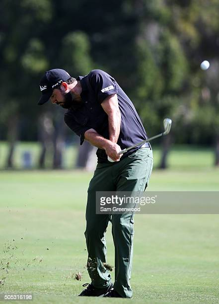 Mark Hubbard plays a shot on the third hole during the third round of the Sony Open In Hawaii at Waialae Country Club on January 16 2016 in Honolulu...