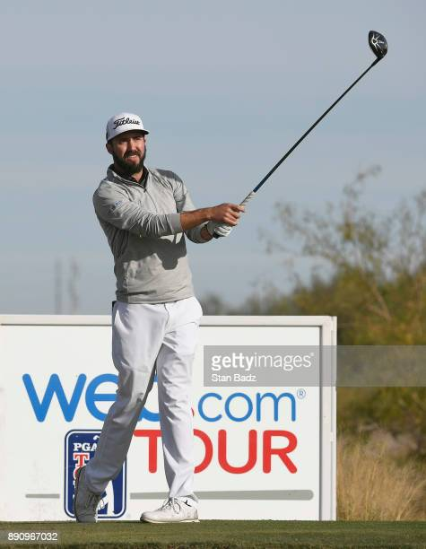 Mark Hubbard plays a tee shot on the second hole during the final round of the Webcom Tour Qualifying Tournament at Whirlwind Golf Club on the...