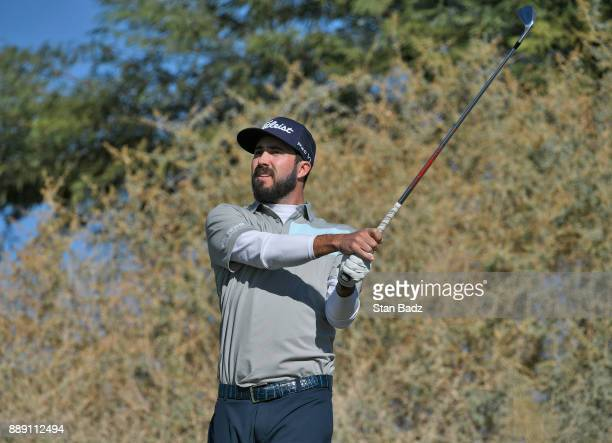 Mark Hubbard plays a tee shot on the seventh hole during the third round of the Webcom Tour Qualifying Tournament at Whirlwind Golf Club on the...