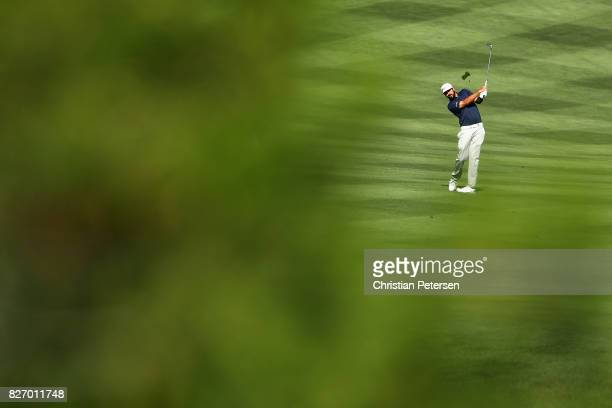 Mark Hubbard plays his second shot on the first hole during the final round of the Barracuda Championship at Montreux Country Club on August 6 2017...