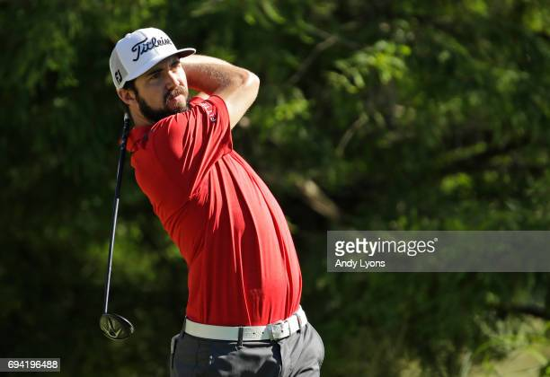 Mark Hubbard plays his shot from the 12th tee during the second round of the FedEx St Jude Classic at TPC Southwind on June 9 2017 in Memphis...