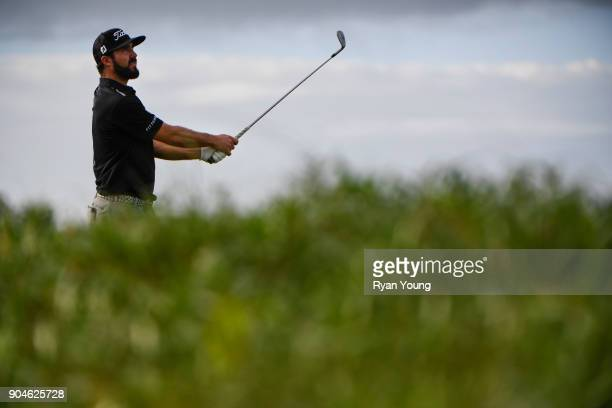 Mark Hubbard plays his shot from the 13th tee during the first round of the Webcom Tour's The Bahamas Great Exuma Classic at Sandals Emerald Bay...