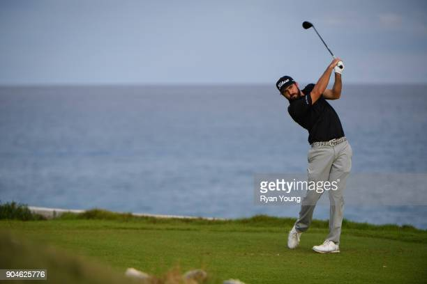 Mark Hubbard plays his shot from the 15th tee during the first round of the Webcom Tour's The Bahamas Great Exuma Classic at Sandals Emerald Bay...