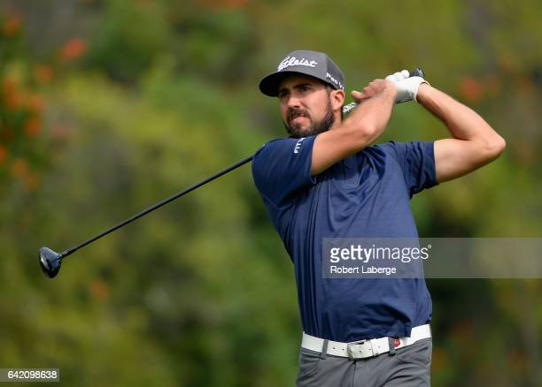 Mark Hubbard plays his shot from the fourth tee during the first round at the Genesis Open at Riviera Country Club on February 16 2017 in Pacific...