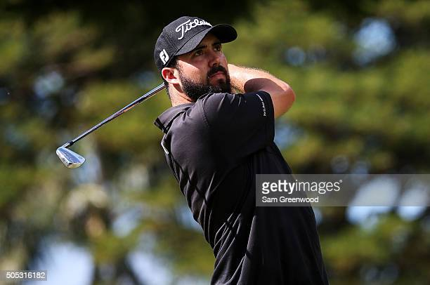 Mark Hubbard plays his shot from the fourth tee during the third round of the Sony Open In Hawaii at Waialae Country Club on January 16 2016 in...