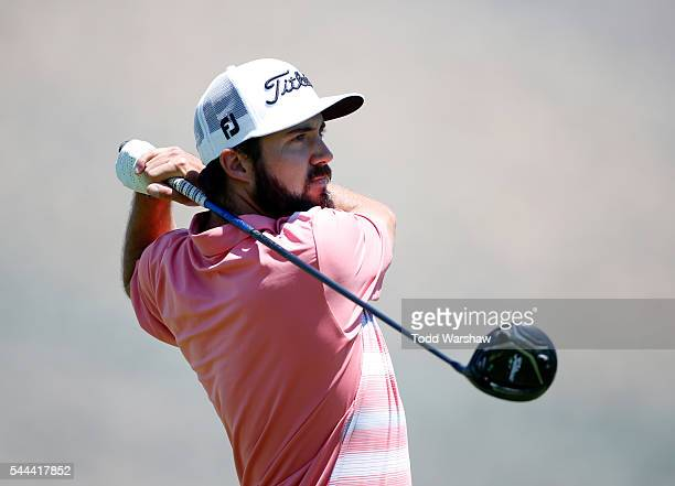 Mark Hubbard plays his shot from the second tee during the final round of the Barracuda Championship at the Montreux Golf and Country Club on July 3...