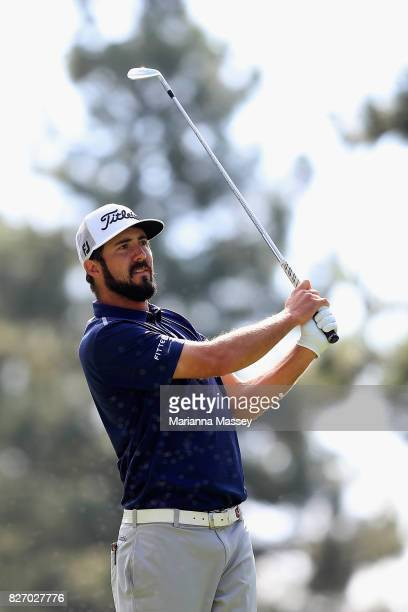 Mark Hubbard plays his shot from the third tee during the final round of the Barracuda Championship at Montreux Country Club on August 6 2017 in Reno...