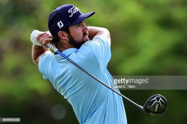 Mark Hubbard plays his tee shot on the 18th hole during the first round of the Puerto Rico Open at Coco Beach on March 23 2017 in Rio Grande Puerto...