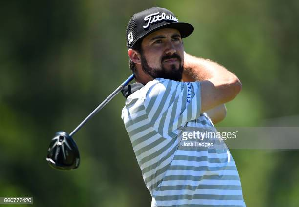 Mark Hubbard plays his tee shot on the eighth hole during the first round of the Shell Houston Open at the Golf Club of Houston on March 30 2017 in...