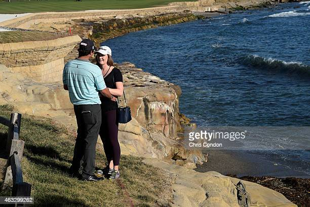 Mark Hubbard proposes to his girlfriend Meghan McCurley on the 18th green during the first round of the ATT Pebble Beach National ProAm at Pebble...