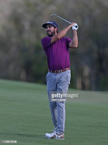Mark Hubbard watches his second shot on the first hole during the second round of the LECOM Suncoast Classic at Lakewood National Golf Club on...
