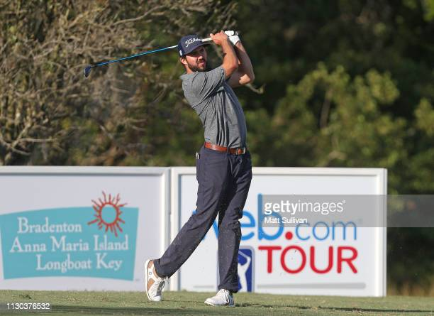 Mark Hubbard watches his tee shot on the 17th hole during the final round of the LECOM Suncoast Classic at Lakewood National Golf Club on February 17...