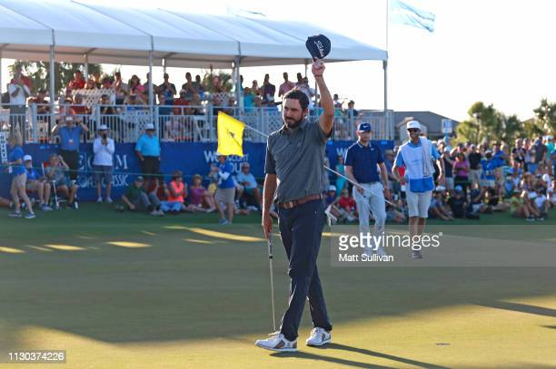 Mark Hubbard waves to the gallery after winning the LECOM Suncoast Classic at Lakewood National Golf Club on February 17 2019 in Lakewood Ranch...