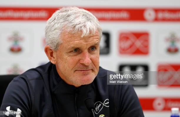 Mark Hughes during a Southampton FC press conference at Staplewood Complex on September 20 2018 in Southampton England