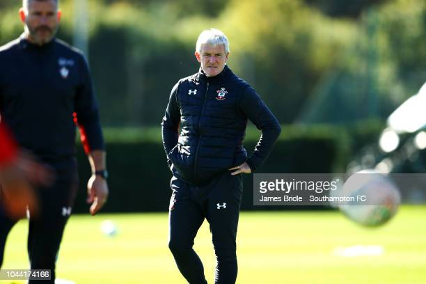 Mark Hughes during a Southampton FC training session at Staplewood Complex on October 1 2018 in Southampton England