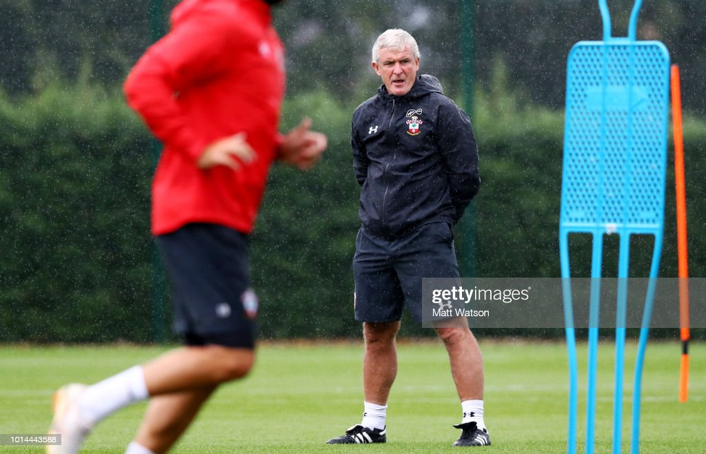 Mark Hughes during a Southampton FC training session at the Staplewood Campus on August 10, 2018 in Southampton, England.