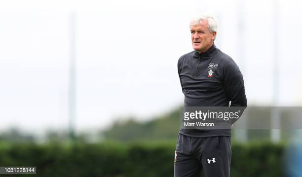 Mark Hughes during a Southampton FC training session at the Staplewood Campus on September 11 2018 in Southampton England