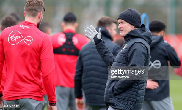 Mark Hughes during a Southampton FC training session at the Staplewood Campus on March 20 2018 in Southampton England