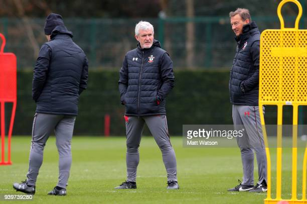 Mark Hughes during a Southampton FC training session at the Staplewood Campus on March 29 2018 in Southampton England