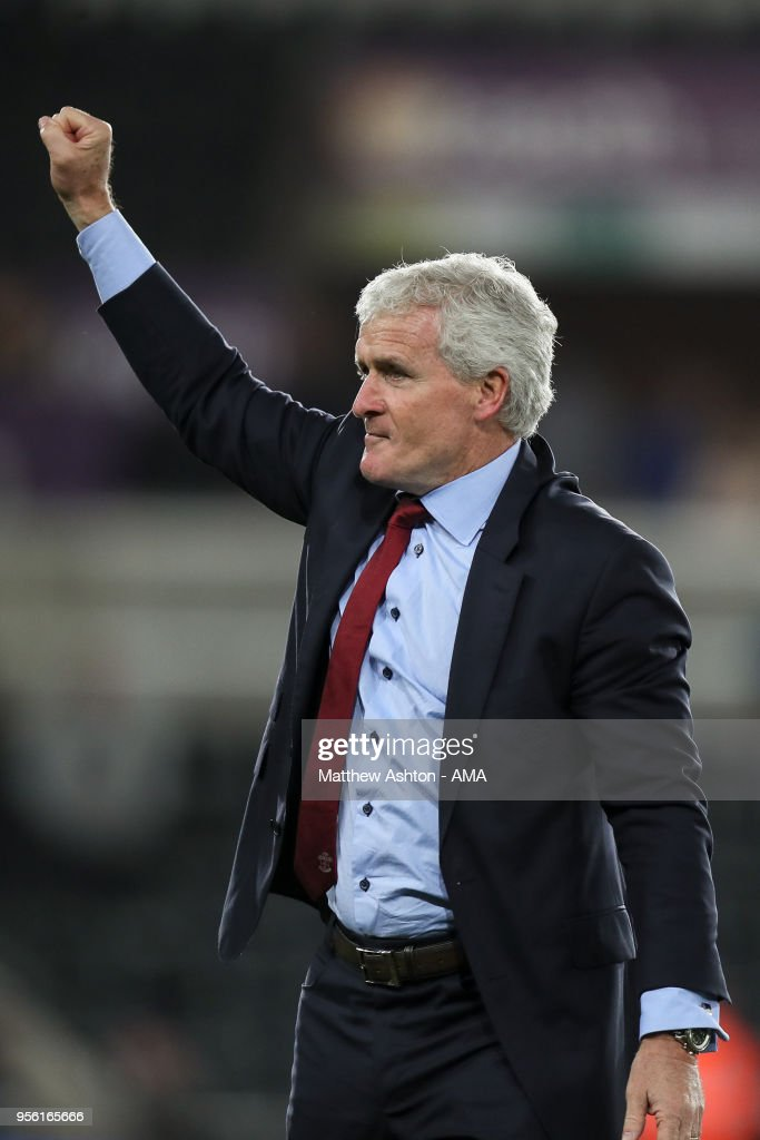 Mark Hughes head coach / manager of Southampton celebrates at full time during the Premier League match between Swansea City and Southampton at Liberty Stadium on May 8, 2018 in Swansea, Wales.