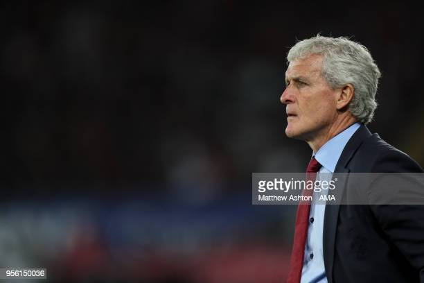 Mark Hughes head coach / manager of Southampton looks on during the Premier League match between Swansea City and Southampton at Liberty Stadium on...