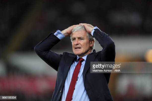 Mark Hughes head coach / manager of Southampton reacts during the Premier League match between Swansea City and Southampton at Liberty Stadium on May...