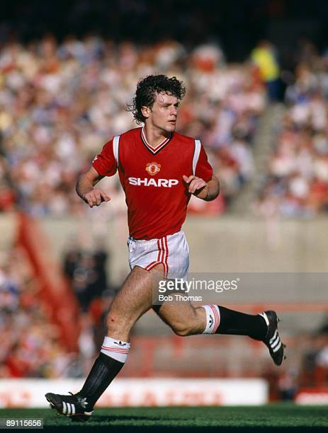 Mark Hughes in action for Manchester United against Queens Park Rangers at Old Trafford in Manchester 12th October 1985 Manchester United won 20