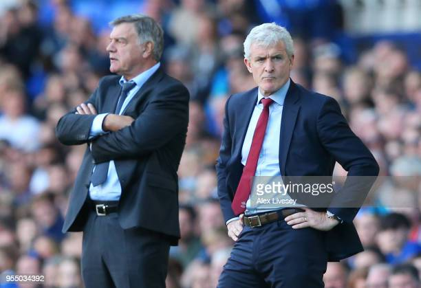 Mark Hughes Manager of Soauthampton nd Sam Allardyce Manager of Everton look on during the Premier League match between Everton and Southampton at...