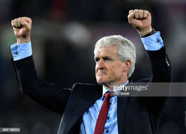 Mark Hughes Manager of Southampton celebrates during the Premier League match between Swansea City and Southampton at Liberty Stadium on May 8 2018...