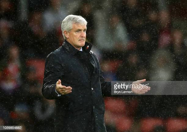 Mark Hughes Manager of Southampton gives his team instructions during the Premier League match between Southampton FC and Watford FC at St Mary's...