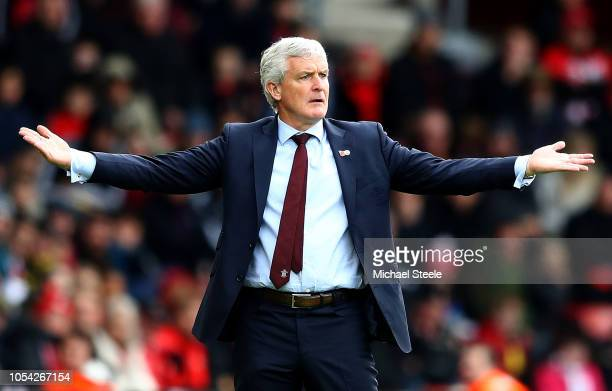 Mark Hughes Manager of Southampton reacts during the Premier League match between Southampton FC and Newcastle United at St Mary's Stadium on October...