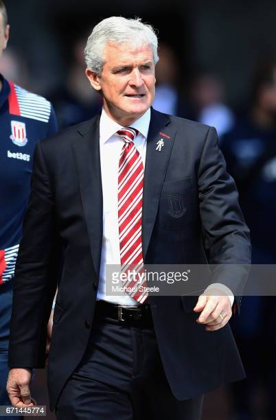 Mark Hughes Manager of Stoke City arrives prior to the Premier League match between Swansea City and Stoke City at the Liberty Stadium on April 22...