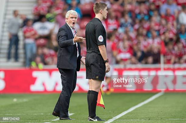 Mark Hughes Manager of Stoke City during the Premier League match between Middlesbrough and Stoke City on August 13 2016 in Middlesbrough