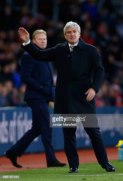 Mark Hughes manager of Stoke City gestures during the Barclays Premier League match between Southampton and Stoke City at St Mary's Stadium on...