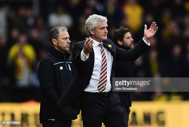 Mark Hughes manager of Stoke City gestures during the Barclays Premier League match between Watford and Stoke City at Vicarage Road on March 19 2016...