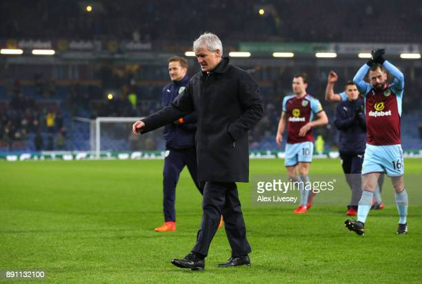 Mark Hughes Manager of Stoke City looks dejected after the Premier League match between Burnley and Stoke City at Turf Moor on December 12 2017 in...